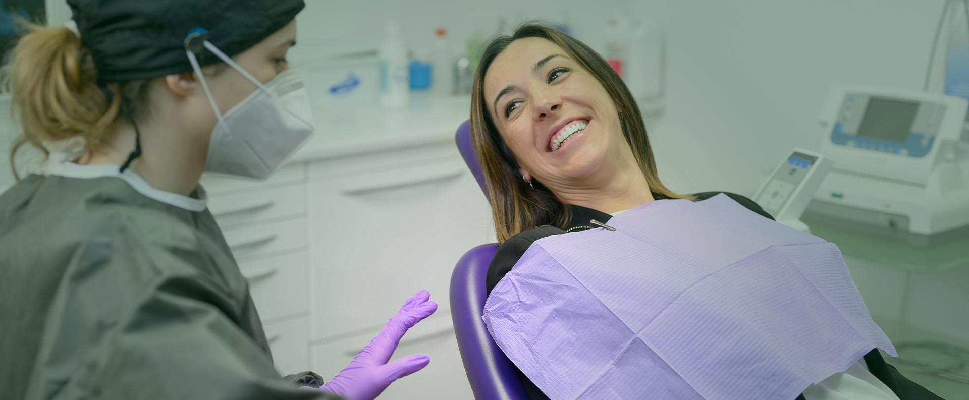 Woman smiling at the dental